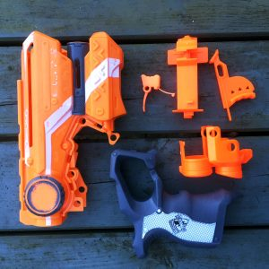 Nerf Firestrike prepped for spray painting