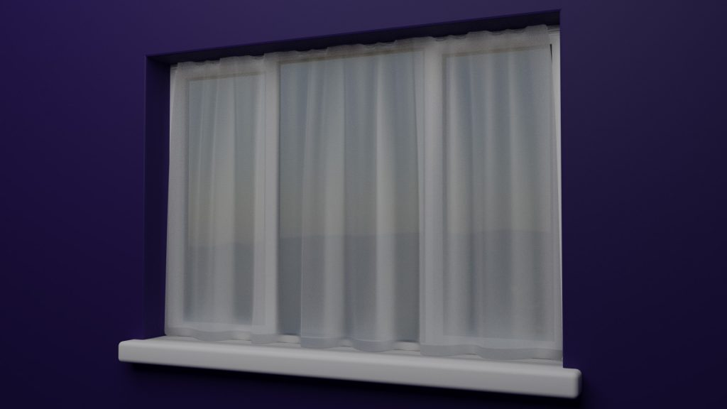 Curtain with environment behind