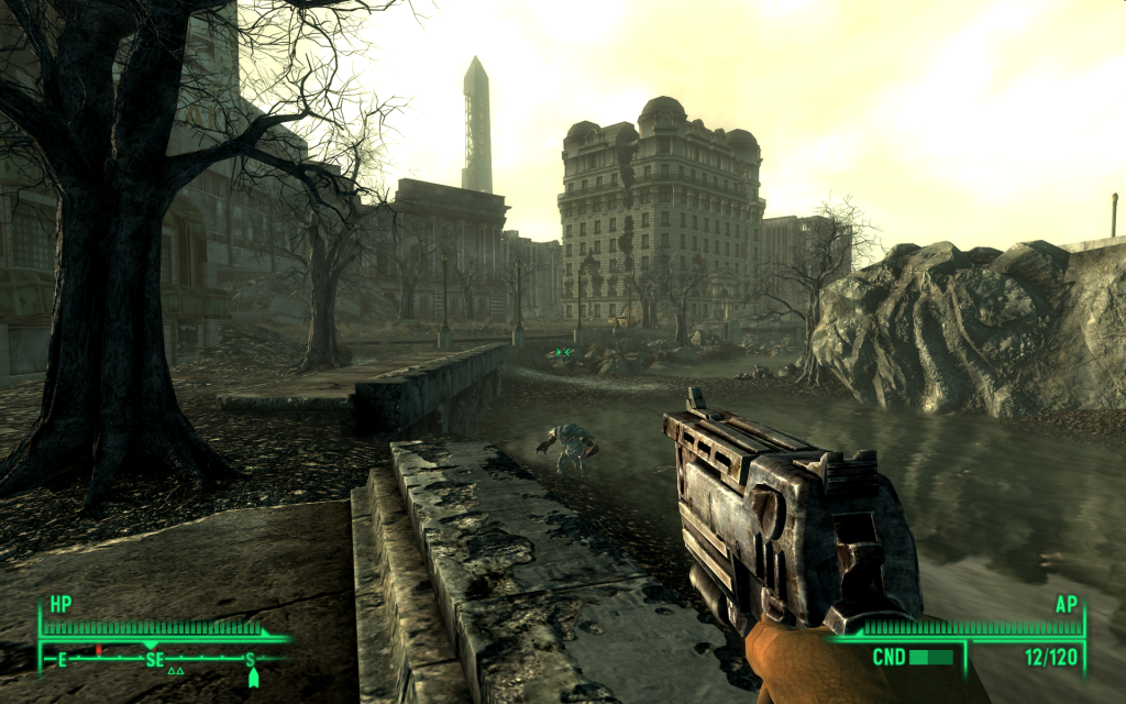 Screenshot of post-apocalyptic city taken from Fallout 3
