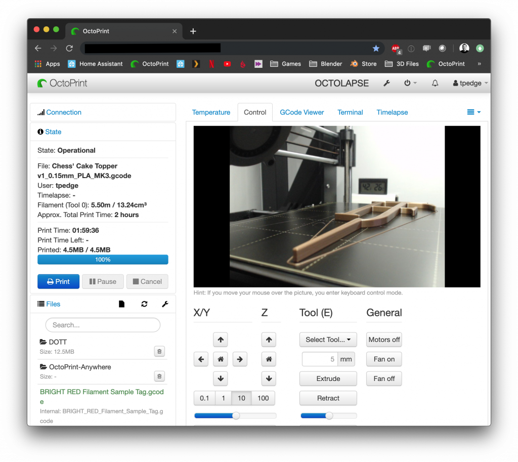 Screenshot of OctoPrint Web Interface in Chrome