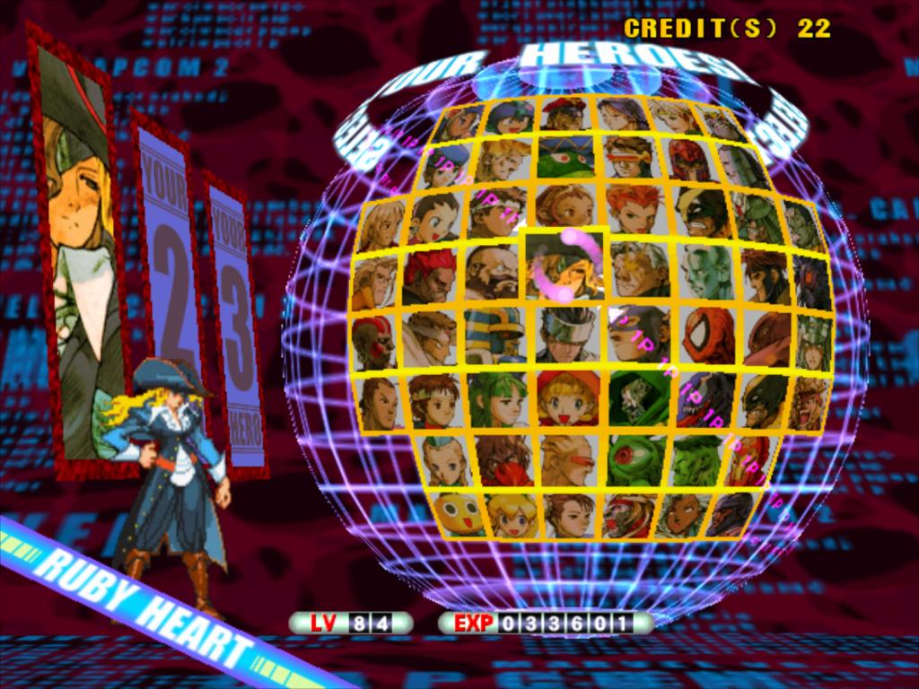 Character select screen for the arcade game Mavel Vs Capcom 2